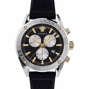 Versace V-Chrono Black Silicone Strap Watch 44mm